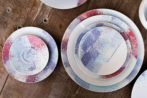 Triangular Porcelain Plate Patterns - This Printed Plate Collection is Made Up of Small Triangles