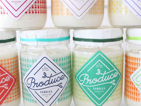 Bright Earthy Candle Packaging - These Vibrant Produce Candles Designs are Unique and Adorable