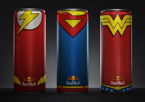 Superhero-Fuelling Energy Drinks - Art Director Deigo Fonseca Created Red Bull Superhero Drinks