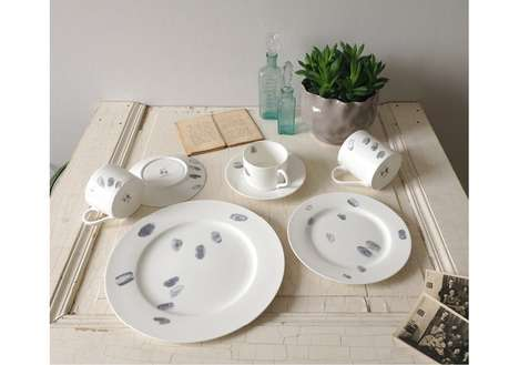 Greasy Fingerprinted Plates - Finger Prints Collection Features Fine White China with Grimy Marks