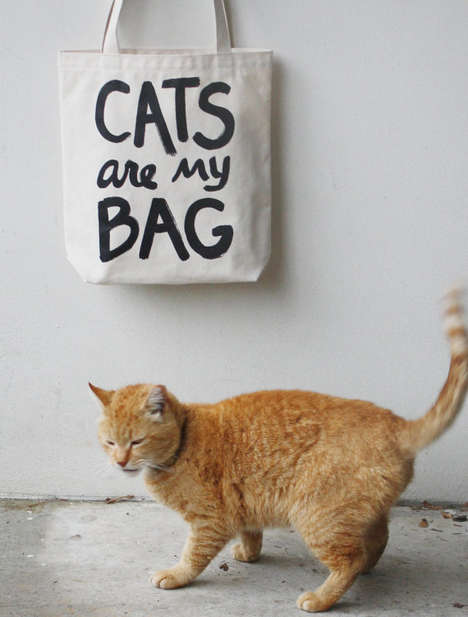 Feline Obsession-Professing Totes - The Cat Tote From Xenotees is Geared Towards Cat Lovers