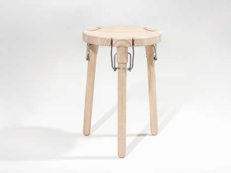 Jar-Inspired Seating - The Latch Stool by Christian Juhl is Uniquely Collapsible