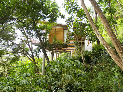 Lush Organic Floating Houses - This Wooden Tree House is Stunning, Functional and All Natural