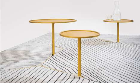 Table-Encompassing Rugs - The Cassette Carpet Features Slits for Slotting in Side Tables