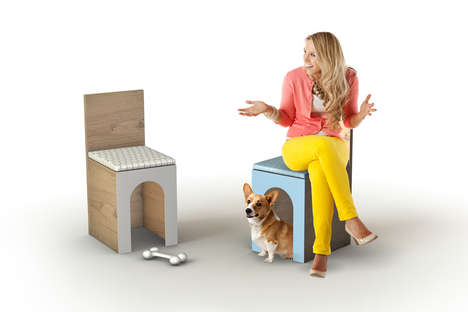 Adorable Doghouse Seating - The Fido Chair and Pet Kennel Invites Master and Mutt to Sit Together