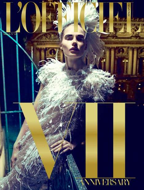 Dark Glamourous Couture Editorials - The New L'Officiel Singapore 7th Anniversary Issue is Dec