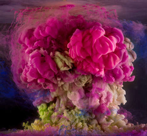 Vibrantly Billowing 3D Paintings - Across the Volumes by Kim Keever Involves Uninhabited Fish Tanks