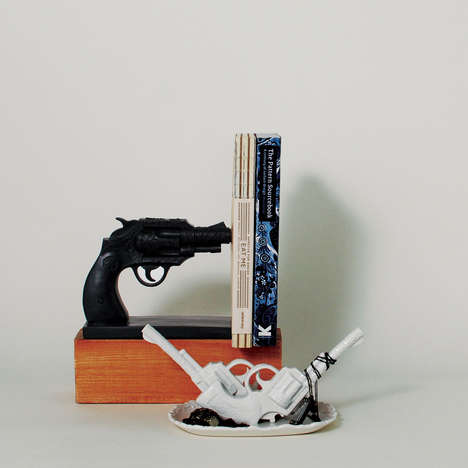Revolver Gun Bookends - The Duello Bookend is a Black Belly Gun Revolver