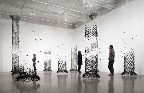 Disintegrating Charcoal Installations - The Fiction and the Fabricated Image Exhibit is Abstract