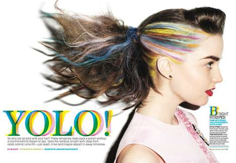 Eccentrically Dyed Hair Editorials - The Cosmopolitan US April 2014 Photoshoot Stars Ali & Victoria