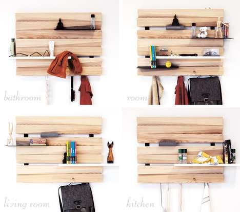 Abstract Bark Shelving - The REMLshelf Wooden Shelving Units are
