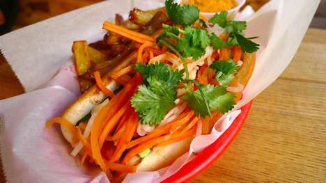 Exotic Asian Hotdogs - The Asian Dog Restaurant Offers Hotdogs with Asian-Inspired Toppings