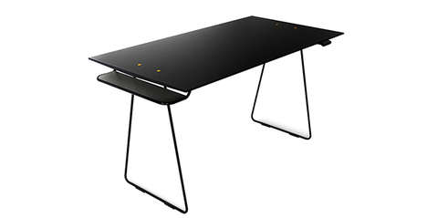 Two-Tier Escritoires - The Antler Table Integrates a Pair of Dropped Ledges on Either End