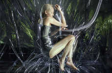 Shrink-Wrapped Models - Iris van Herpen's Runway Centerpiece is Unexpected and Futuristic