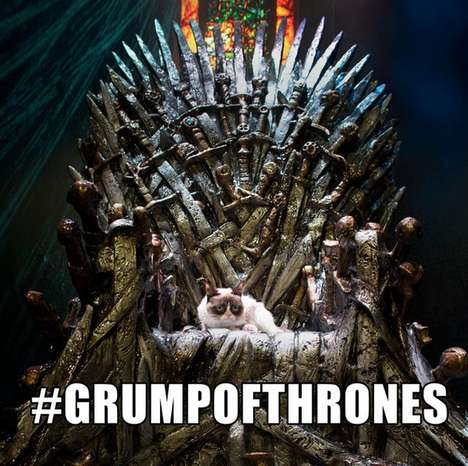 Throned Cat Ruling Memes - The Famous Grumpy Cat Takes Over SXSW as Grump of Thrones