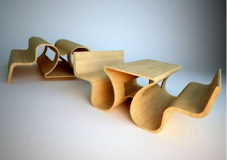 17 Curiously Conjoined Furnishings - From Simple Siamese Seating to Meandering Timber Tables