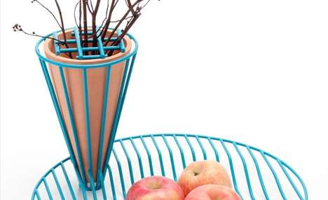 Wireframe Hybrid Dishes - The Blossom Fruit Bowl Combines a Grill-Like Platter and Planter