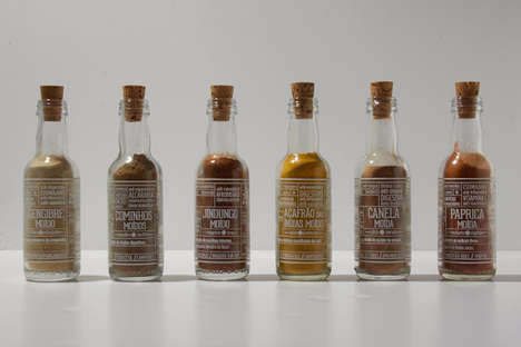 Bottled Condiment Branding - Rota Das Cores Spices Packaging Looks Like It Has Washed Up on Shore