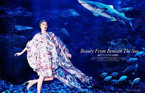 Edgy Aquarium Editorials - Vogue Japan