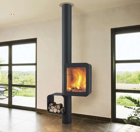 Contemporary Boxy Fireplaces - The Grappus Stove by Focus Provides Toasty Warmth with Style