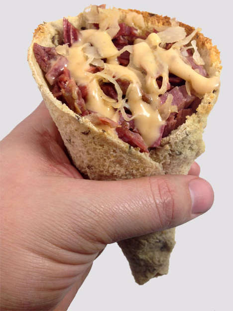 Conically Reshaped Sandwiches - This DudeFoods Tutorial Turns a Reuben Sandwich into a Cone