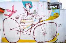 Whimsical Vibrant Bicycle Murals - Artist Mart's Murals Add Color and Life to Argentina's Streets