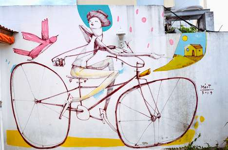 Whimsical Vibrant Bicycle Murals - Artist Mart