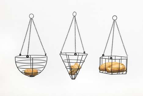 Suspended Bread Storage - A Hanging Bread Basket is a Great Way to Save Kitchen Space