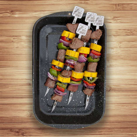 Herb Slot Skewers - The Spice Inside Grill Kabob Skewers Allow Cooks to Conveniently Infuse Flavor