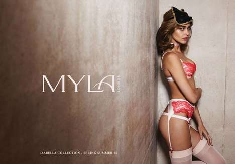 Sultrily Gartered Lingerie Ads - The Myla London Lingerie SS14 Campaign Stars Ana Beatriz Barros