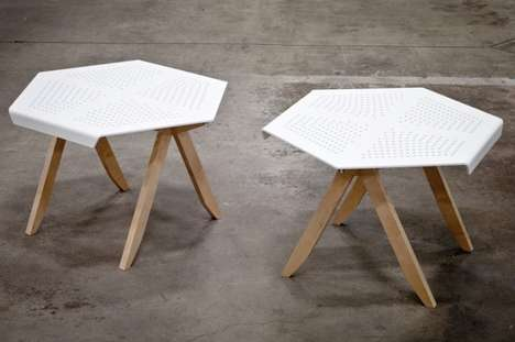 Perforated Geometric Furniture - The Hexa Side Table by Jonathan Dorthe is Clean and Sculptural