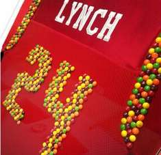 Candy-Inspired Football Jerseys - Skittles Introduces a Candy-Fused Jersey to Marshawn Lynch