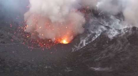 Drone-documented Volcanos - An Erupting Volcano is Captured by a Quadcopter