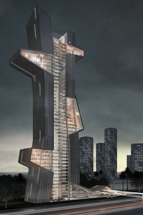 Asymmetrical Vertical Architecture - Blue Tape Architecture School Concept Encourages Interaction