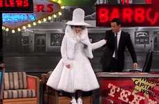 Lady Gaga Visits Jimmy Kimmel in a Coffee Filter Dress During SXSW