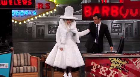 Coffee Filter Dresses - Lady Gaga Visits Jimmy Kimmel in a Coffee Filter Dress During SXSW
