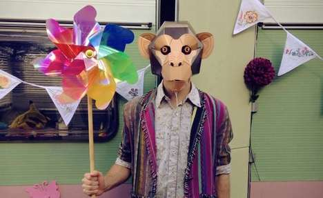 Comical Cardboard Chimpanzee Masks - This Chimpanzee Mask Lets You Monkey Around