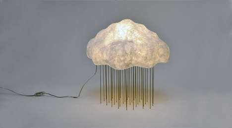 Cloudy Sculptural Luminaires - Silver Rain Table Lamp Embodies a Bright Representation of Weather