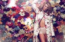 Whimsically Floral Editorials - The ELLE Russia Photoshoot Stars Angela Lindvall