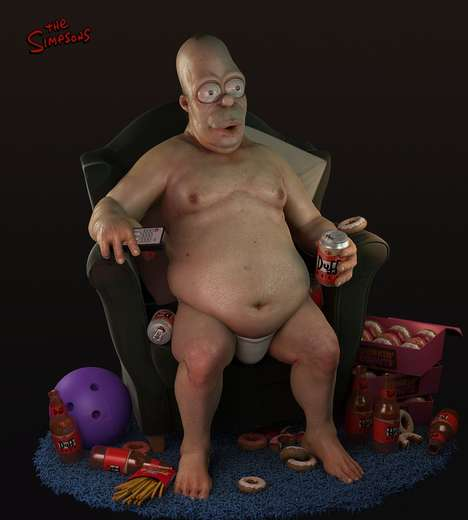 Realistic Cartoon Characters - This Realistic Homer Simpson Drawing is a Shocking Sight to Behold
