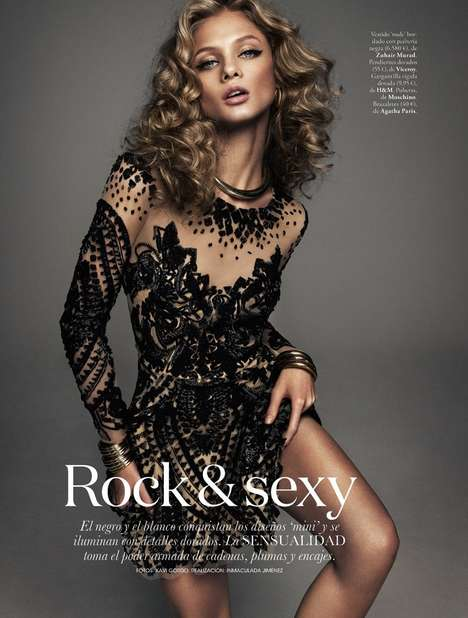 Bronzed Rockstar Editorial - The ELLE Spain March 2014 Photoshoot Stars a Glam Anna Selezneva