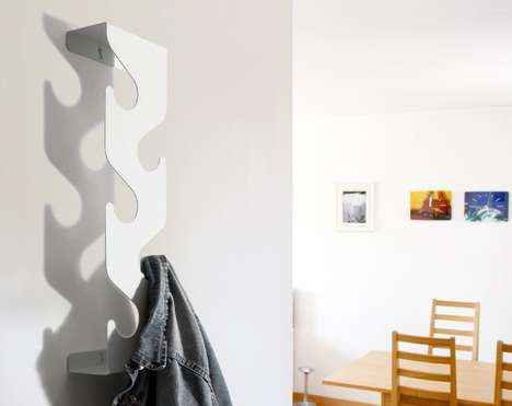Undulating Vertical Coatracks - The Wave Coat Rack Gets Mounted Upright to Assume Less Wall Space