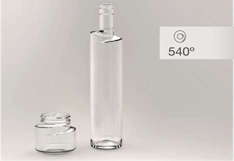 Spiralling Sculptural Vessels - 540º Bottle Has an Exaggerated Screw Top That Encompasses the N
