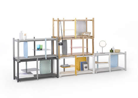 Stacked Modular Shelving - The Stackle System by THINKK Studio is a Space-Saving Unit