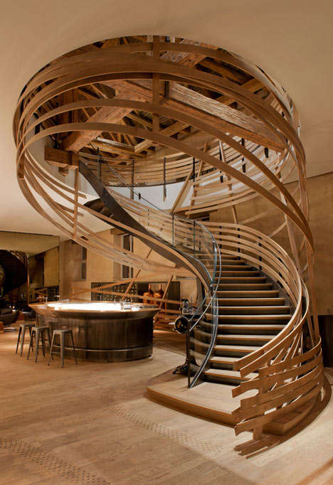 Wooden Strip Staircases - Jouin Manku Designed a Wooden Staircase for a Strasbourg Hotel