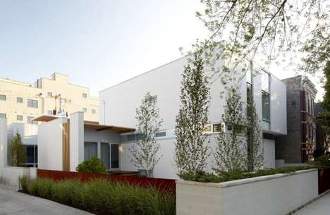 All-White Masonry Abodes - Bucktown Three by Studio Dwell Architects Has a White-Washed Look