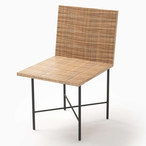 Printed Wood Grain Chairs - Design Studio Nendo Printed Wood Grains on Natural Timber Chairs