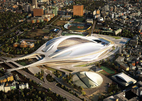 Spaceship-Inspired Stadiums - Architect Zaha Hadid Designs The Futuristic Japan National Stadium