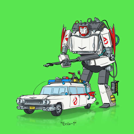 Famous Vehicle Robot Makeovers - Darren Rawlings Imagines TVs and Movie