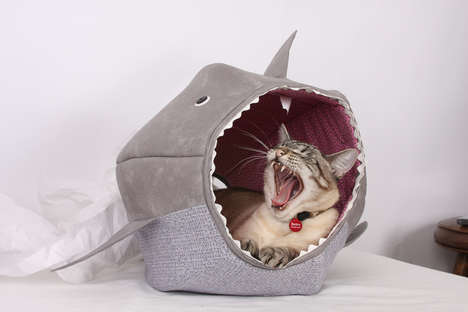 Feline Shark Beds - Feed Your Kitty to the Fishes With the Shark Cat Bed